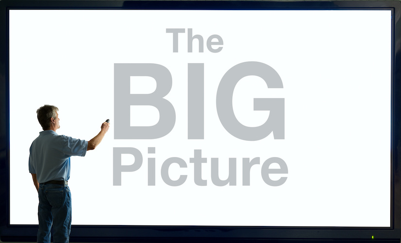 Man with remote and giant television saying The BIG Picture