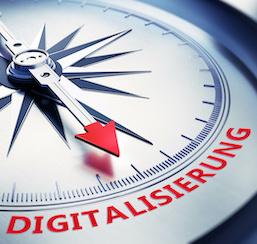 Kompass Silber Digitalisierung rot